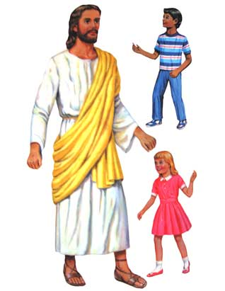 Jesus Standing with Two Children