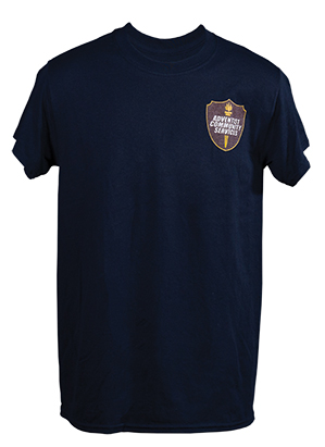 Adventist Community Services Navy T-Shirt with 3-Color Logo