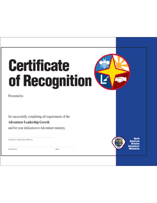 Certificado Adventurer Leadership Growth