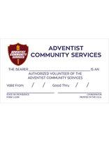 Adventist Community Service Volunteer Card