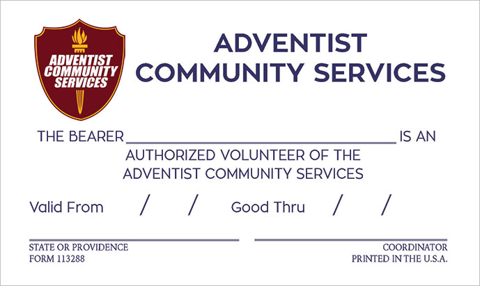 Adventist Community Service Volunteer Card