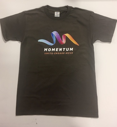 Camiseta gris con logotipo Momentum- Ministerio Juvenil