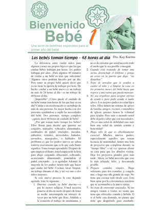 Welcome Baby -- Newsletters for Individual Family (Spanish)