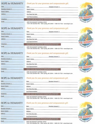 Hope for Humanity Receipt Sheet (English)