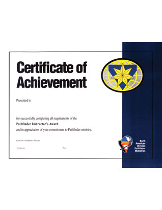 Pathfinder Instructor Award Achievement Certificate