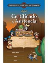 Cactusville VBX Certificate of Attendance  (Pkg of 10) Spanish