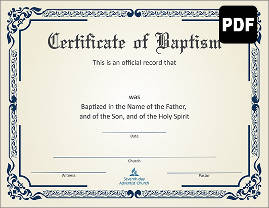 Certificate of Baptism - Download