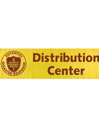 Adventist Disaster Relief Yellow Distribution Center Banner