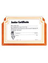 Junior Book Club Certificate