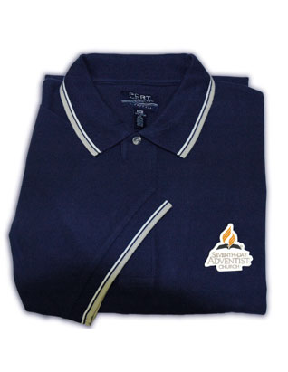 Adventist Logo Men's Polo Shirt, Navy/White