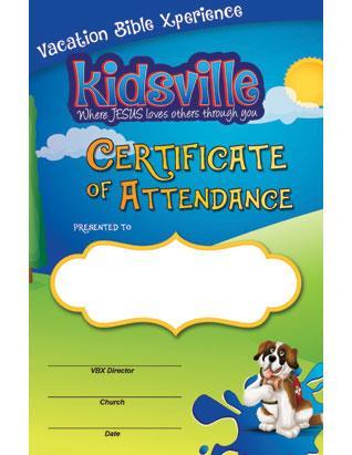 Kidsville VBX Certificate of Attendance (Pkg of 10)