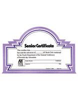 Senior Book Club Certificate