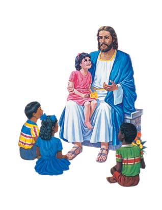 Jesus Seated with Four Children