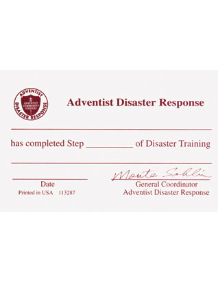 Adventist Disaster Response Certification Card