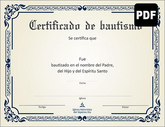 Certificate of Baptism PDF Download - Spanish
