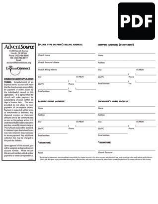 Church Account Application PDF Download