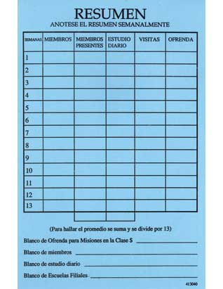Adult Sabbath School Class Record Card (Spanish)