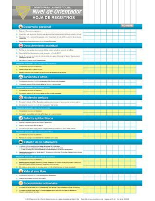 Investiture Achievement Ranger Record Chart (Spanish)