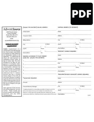 School Account Application PDF Download