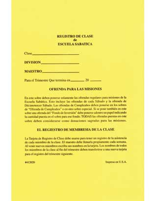 Sabbath School Mission Offering/Class Record Envelope (Spanish)