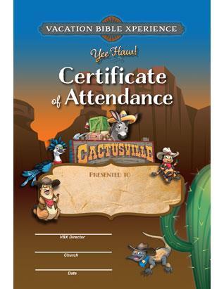 Cactusville VBX Certificate of Attendance (pkg of 10)