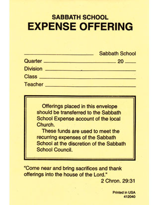 Sabbath School Expense Offering Envelopes