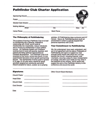 Pathfinder Club Charter Application