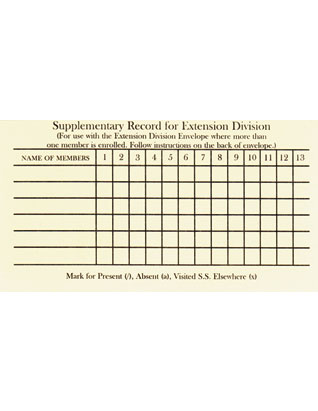 Extension Division Class Record Card