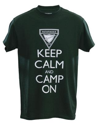 Keep Calm and Camp On - Camiseta Verde Bosque
