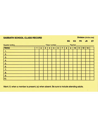 Children's Sabbath School Class Record Card