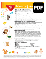 Busy Bee Friend of Animals Award - PDF Download